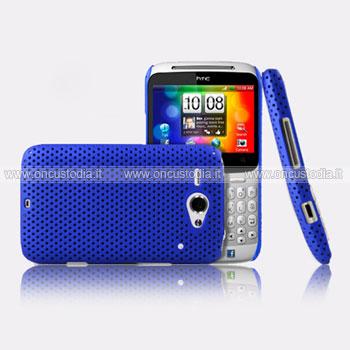 Custodia HTC Chacha G16 A810e Rete Cover Rigida Guscio - Blu