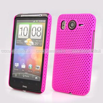 Custodia HTC Desire HD G10 A9191 Rete Cover Rigida Guscio - Fucsia