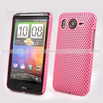 Custodia HTC Desire HD G10 A9191 Rete Cover Rigida Guscio - Rosa