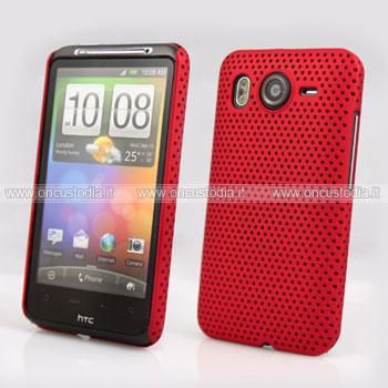Custodia HTC Desire HD G10 A9191 Rete Cover Rigida Guscio - Rosso