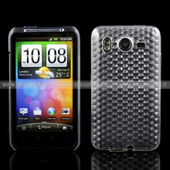 Custodia HTC Desire HD G10 A9191 TPU Diamante Silicone Case - Chiaro