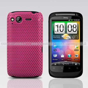 Custodia HTC Desire S G12 S510e Rete Cover Rigida Guscio - Fucsia