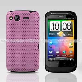 Custodia HTC Desire S G12 S510e Rete Cover Rigida Guscio - Rosa Chiaro
