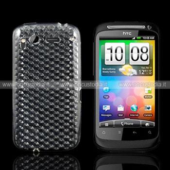 Custodia HTC Desire S G12 S510e TPU Diamante Silicone Case - Chiaro