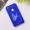 Custodia Apple iPhone 4 Farfalla Plastica Cover Rigida - Blu