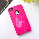 Custodia Apple iPhone 4 Farfalla Plastica Cover Rigida - Fucsia
