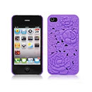 Custodia Apple iPhone 4 Fiori Plastica Cover Rigida - Porpora