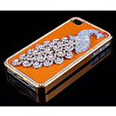 Custodia Apple iPhone 4 Pavone Diamante Bling Cover Bumper - Arancione