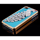 Custodia Apple iPhone 4 Pavone Diamante Bling Cover Bumper - Blu
