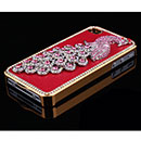 Custodia Apple iPhone 4 Pavone Diamante Bling Cover Bumper - Rosso
