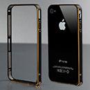 Custodia Apple iPhone 4S Frame Metal Plated Cover Rigida - Nero