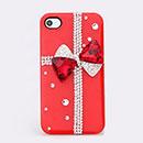 Custodia Apple iPhone 4S Lusso Bowknot Diamante Bling Bumper Rigida - Rosso