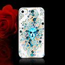 Custodia Apple iPhone 4S Lusso Fiori Diamante Bling Cover Rigida - Blu