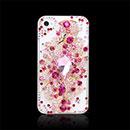 Custodia Apple iPhone 4S Lusso Fiori Diamante Bling Cover Rigida - Fucsia