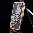 Custodia Apple iPhone 4S Pavone Diamante Bling Cover Bumper - Nero
