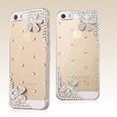 Custodia Apple iPhone 5 Lusso Fiori Diamante Bling Cover Rigida - Clear