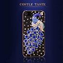 Custodia Apple iPhone 5 Pavone Diamante Bling Cover Rigida - Blu