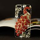 Custodia Apple iPhone 5 Pavone Diamante Bling Cover Rigida - Rosso