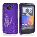 Custodia HTC Desire HD G10 A9191 Farfalla Plastica Cover Rigida - Porpora