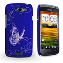 Custodia HTC One S Farfalla Plastica Cover Rigida - Blu