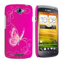 Custodia HTC One S Farfalla Plastica Cover Rigida - Fucsia