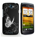 Custodia HTC One S Farfalla Plastica Cover Rigida - Nero