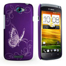 Custodia HTC One S Farfalla Plastica Cover Rigida - Porpora