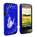 Custodia HTC One V Farfalla Plastica Cover Rigida - Blu