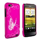 Custodia HTC One V Farfalla Plastica Cover Rigida - Fucsia