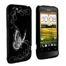 Custodia HTC One V Farfalla Plastica Cover Rigida - Nero