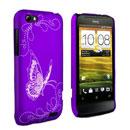 Custodia HTC One V Farfalla Plastica Cover Rigida - Porpora