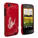 Custodia HTC One V Farfalla Plastica Cover Rigida - Rosso