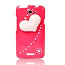 Custodia HTC One X Lusso Amore Diamante Bling Cover Rigida - Rosso