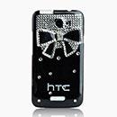 Custodia HTC One X Lusso Farfalla Diamante Bling Cover Rigida - Bianco