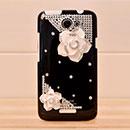 Custodia HTC One X Lusso Fiori Diamante Bling Cover Rigida - Nero