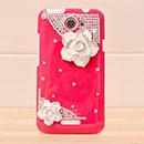 Custodia HTC One X Lusso Fiori Diamante Bling Cover Rigida - Rosso