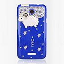 Custodia HTC One X Lusso Pecora Diamante Bling Cover Rigida - Blu