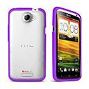 Custodia HTC One X Silicone Trasparente Gel - Porpora