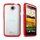 Custodia HTC One X Silicone Trasparente Gel - Rosso