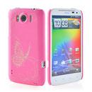 Custodia HTC Sensation XL X315e G21 Farfalla Plastica Cover Rigida - Rosa