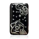 Custodia HTC Wildfire G8 Lusso Fiori Diamante Bling Cover Rigida - Nero