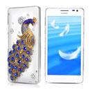 Custodia Huawei Ascend D2 Pavone Diamante Bling Cover Rigida - Blu