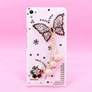 Custodia Huawei Ascend P6 Lusso Farfalla Diamante Bling Cover Rigida - Bianco