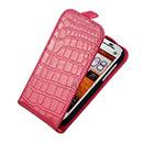 Custodia in Pelle HTC One SC T528d Coccodrillo Cover - Fucsia