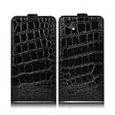 Custodia in Pelle HTC One SC T528d Coccodrillo Cover - Nero