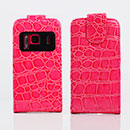 Custodia in Pelle Nokia N8 Coccodrillo Cover - Fucsia