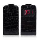 Custodia in Pelle Nokia N8 Coccodrillo Cover - Nero
