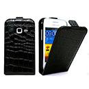 Custodia in Pelle Samsung Galaxy Ace Duos S6802 Coccodrillo Cover - Nero