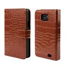 Custodia in Pelle Samsung Galaxy S2 Plus i9105 Coccodrillo Cover - Brown