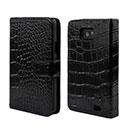 Custodia in Pelle Samsung Galaxy S2 Plus i9105 Coccodrillo Cover - Nero